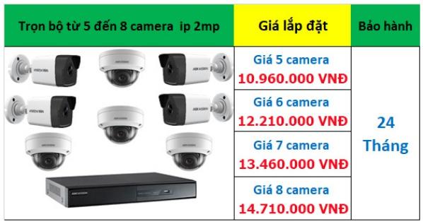 Bảng giá 5 - 8 camera ip hikvision