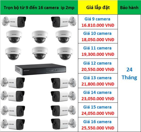 Bảng giá 9 - 16 camera ip hikvision