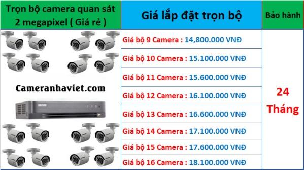 bảng giá lắp đặt camera quan sát 9 - 16 camera