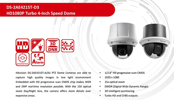 Camera PTZ HDTVI 2MP HIKVISION DS-2AE4215T-D3 giá tốt