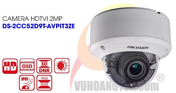 Camera Dome HDTVI 2MP Hikvision DS-2CC52D9T-AVPIT3ZE
