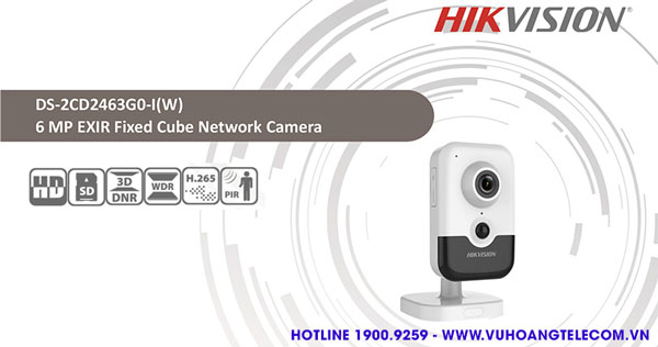 Bán camera IP Cube 6MP Hikvision DS-2CD2463G0-IW giá tốt