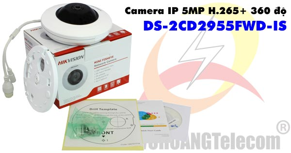 Camera IP 5MP H.265+ 360 độ Hikvision DS-2CD2955FWD-IS giá rẻ