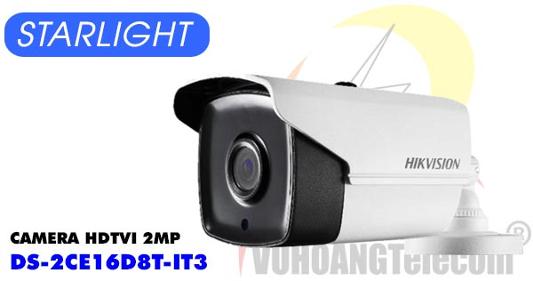 Camera HDTVI 2MP Starlight Hikvision DS-2CE16D8T-IT3 giá rẻ