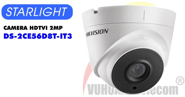 Camera Dome HDTVI 2MP Starlight Hikvision DS-2CE56D8T-IT3 giá rẻ