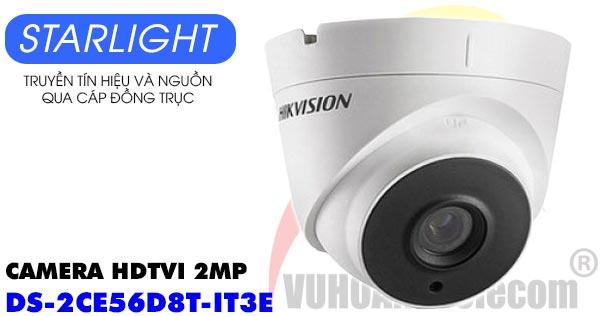 Camera Dome HDTVI 2MP Starlight Hikvision DS-2CE56D8T-IT3E giá rẻ