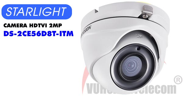 Camera Dome HDTVI 2MP Starlight Hikvision DS-2CE56D8T-ITM giá rẻ