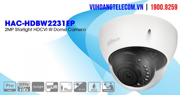 Bán Camera HDCVI 2.1MP Starlight Dahua HAC-HDBW2231EP giá tốt
