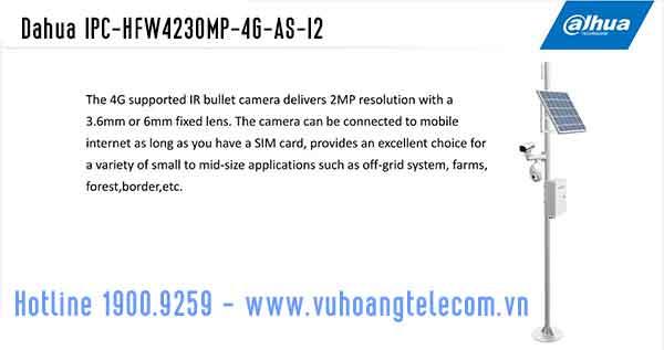 Camera Dahua IPC-HFW4230MP-4G-AS-I2 hỗ trợ 4G