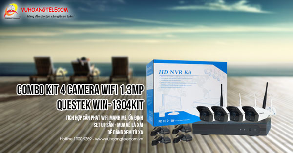 Bán bộ kit 4 camera Wifi 2MP Questek Win-2004Kit giá tốt