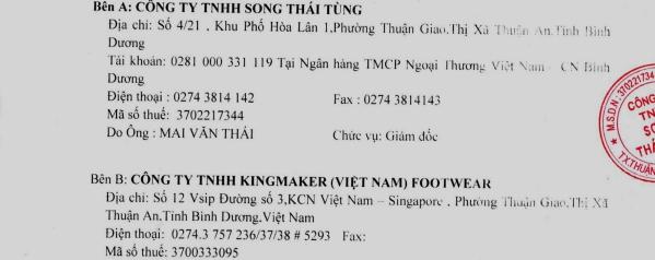 kingmaker v Việt Nam footwear tại Bình Dương